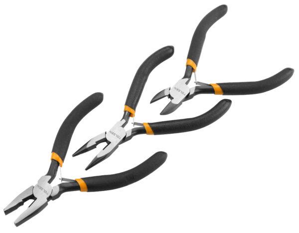 10038- Tolsen- Mini plier set- Combination- Long nose- Mini Diagonal Cutter- 115mm- Jewellery pliers- model pliers