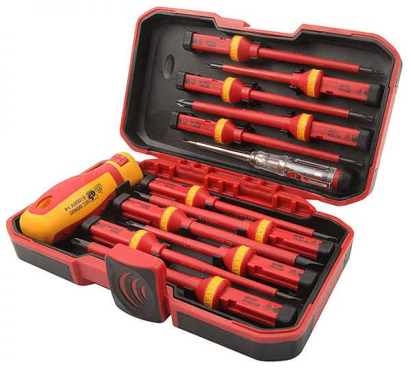 Tolsen 13pcs VDE Screwdriver Set in case -interchangable-38016