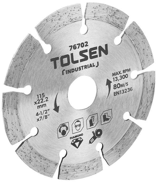 Tolsen Diamond Cutting Disc-segmented-angle grinder-tile cutting-marble-ceramic- porcelian-4 inch-76702