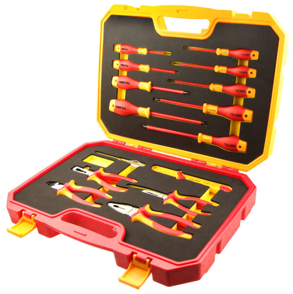VDE-Insulated-Tool-Set-screwdriver-Cable-cutter-Insulated-Combination-plier-Strippers-case-V82115-v19
